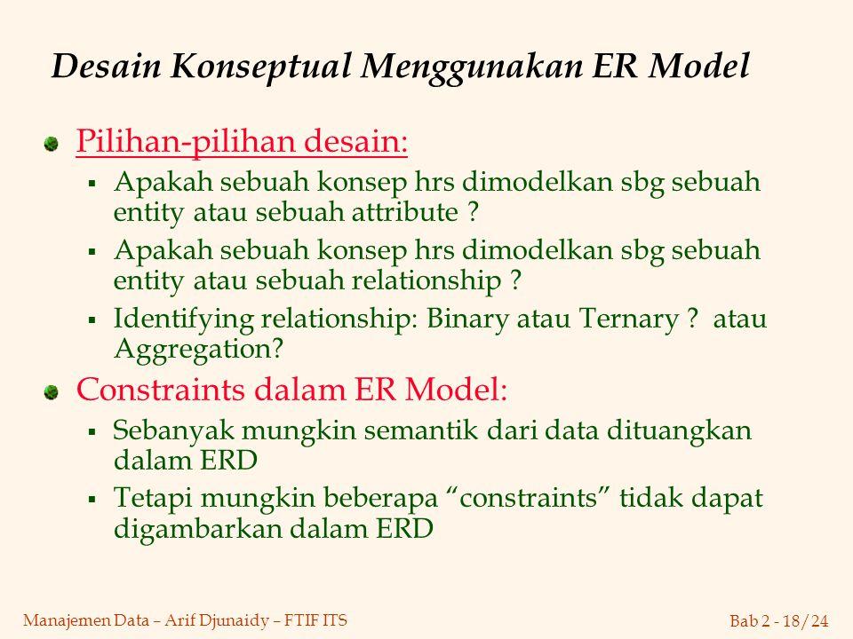 Desain Konseptual Menggunakan ER Model