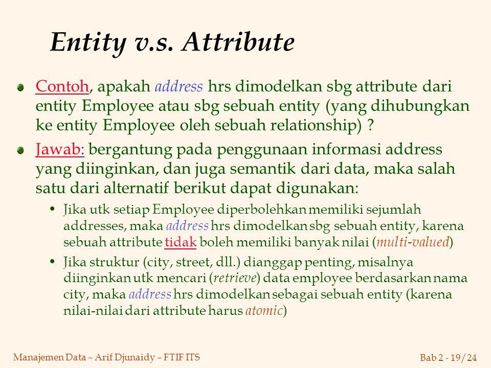 Entity v.s. Attribute