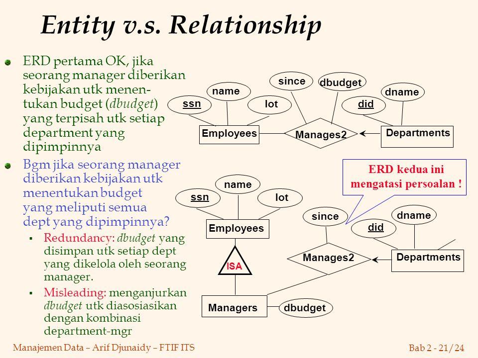 Entity v.s. Relationship