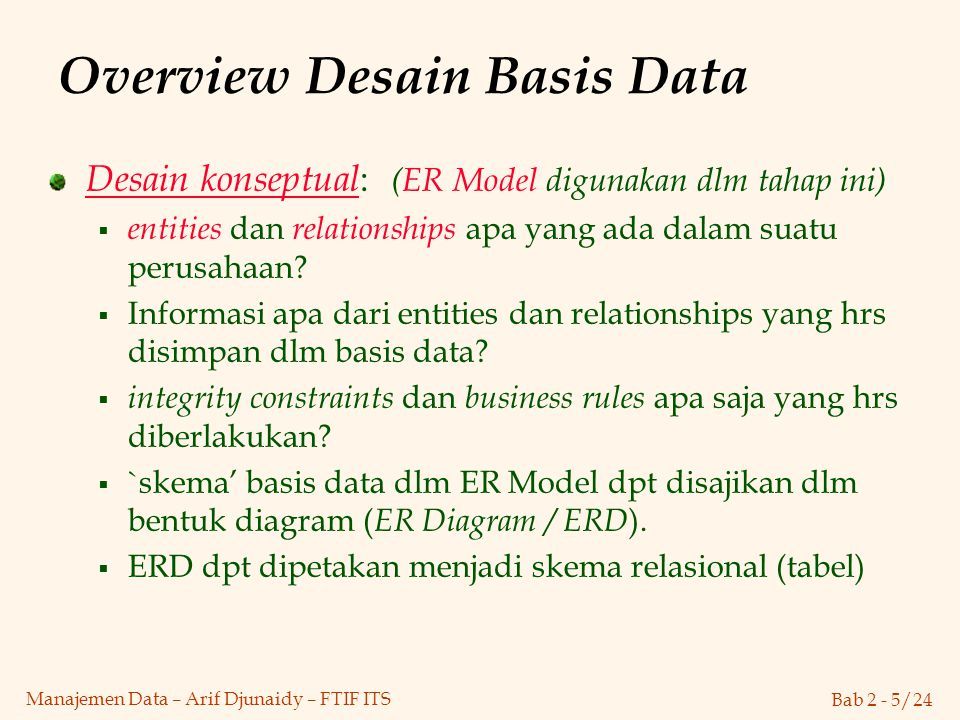 Overview Desain Basis Data