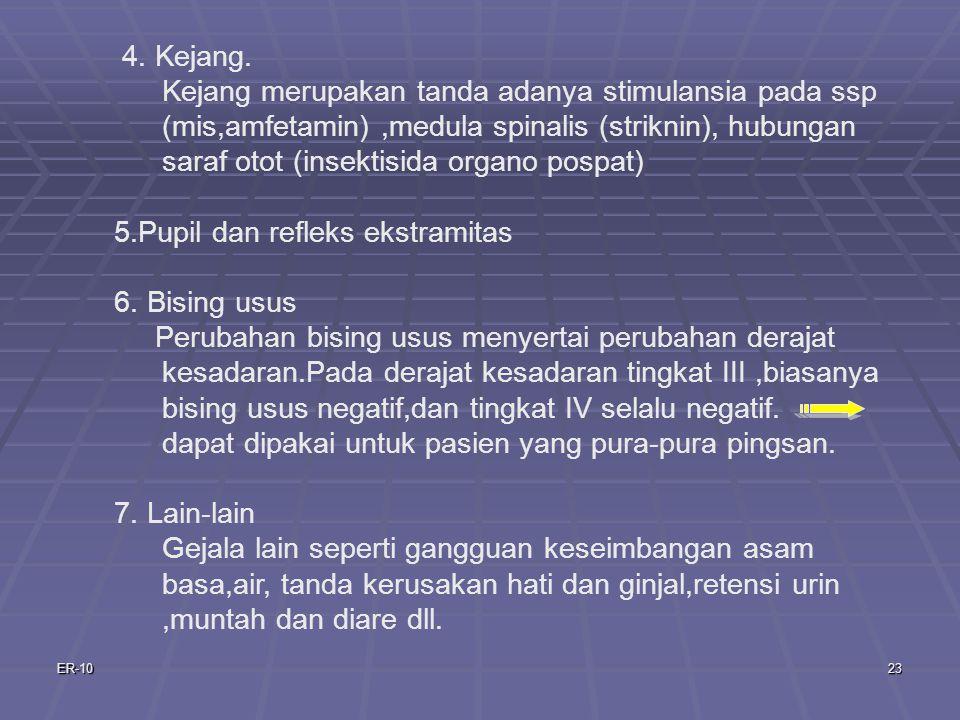 5.Pupil dan refleks ekstramitas 6. Bising usus