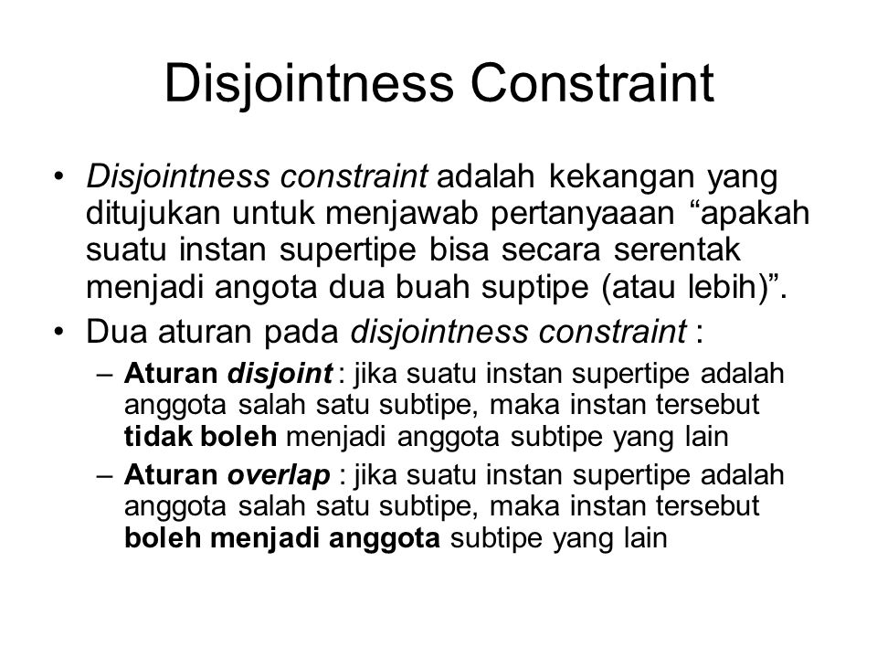 Disjointness Constraint