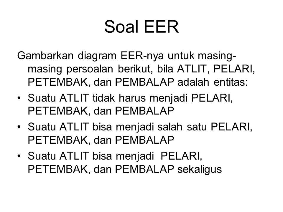 Soal EER Gambarkan diagram EER-nya untuk masing-masing persoalan berikut, bila ATLIT, PELARI, PETEMBAK, dan PEMBALAP adalah entitas: