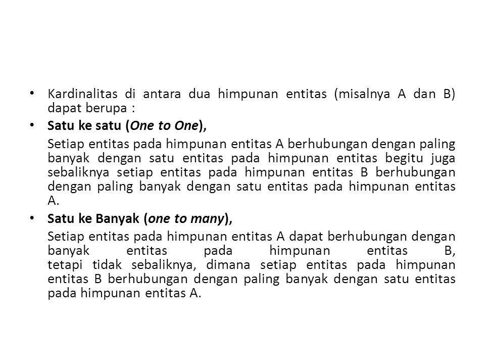 Kardinalitas di antara dua himpunan entitas (misalnya A dan B) dapat berupa :
