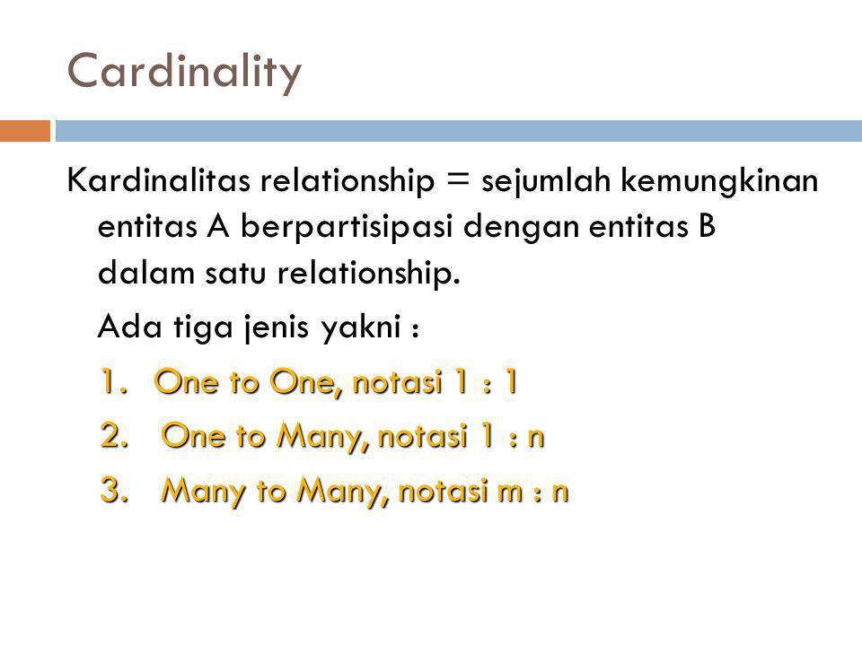 Cardinality Kardinalitas relationship = sejumlah kemungkinan entitas A berpartisipasi dengan entitas B dalam satu relationship.