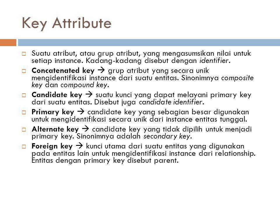 Key Attribute Suatu atribut, atau grup atribut, yang mengasumsikan nilai untuk setiap instance. Kadang-kadang disebut dengan identifier.