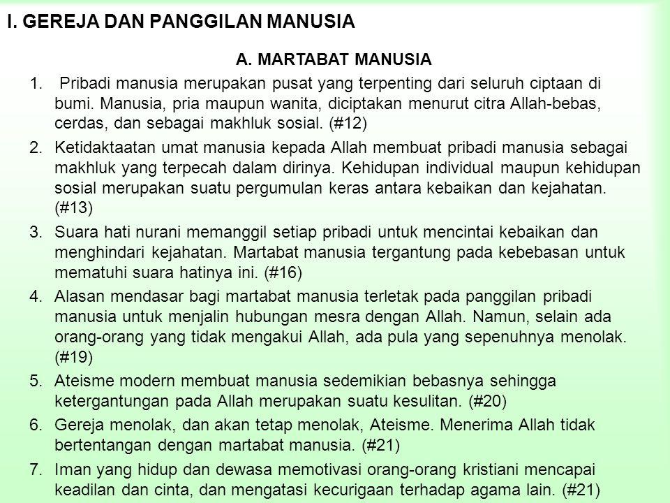 I. GEREJA DAN PANGGILAN MANUSIA