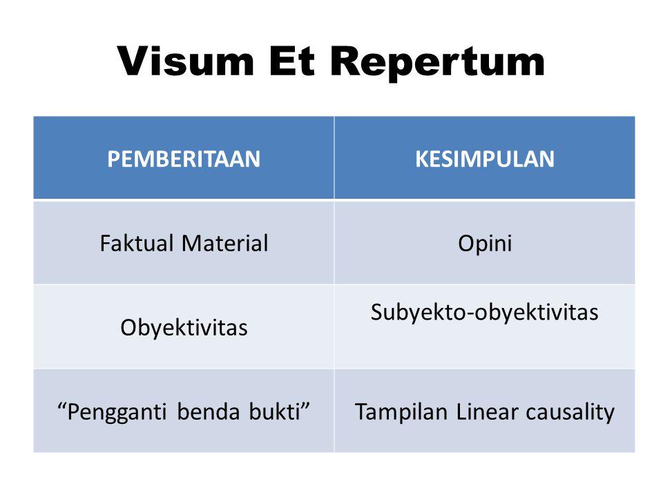 Visum Et Repertum PEMBERITAAN KESIMPULAN Faktual Material Opini