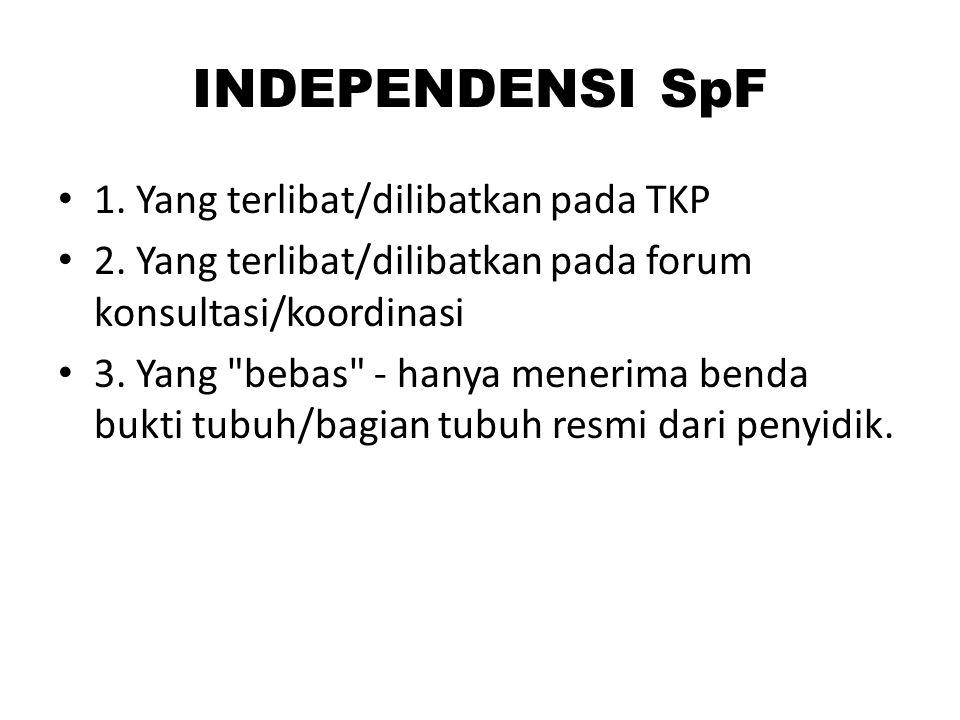 INDEPENDENSI SpF 1. Yang terlibat/dilibatkan pada TKP