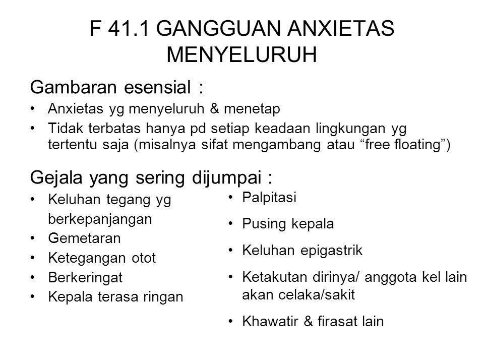 F 41.1 GANGGUAN ANXIETAS MENYELURUH