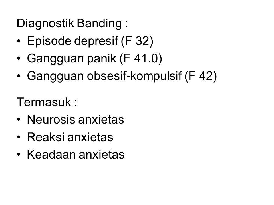 Diagnostik Banding : Episode depresif (F 32) Gangguan panik (F 41.0) Gangguan obsesif-kompulsif (F 42)