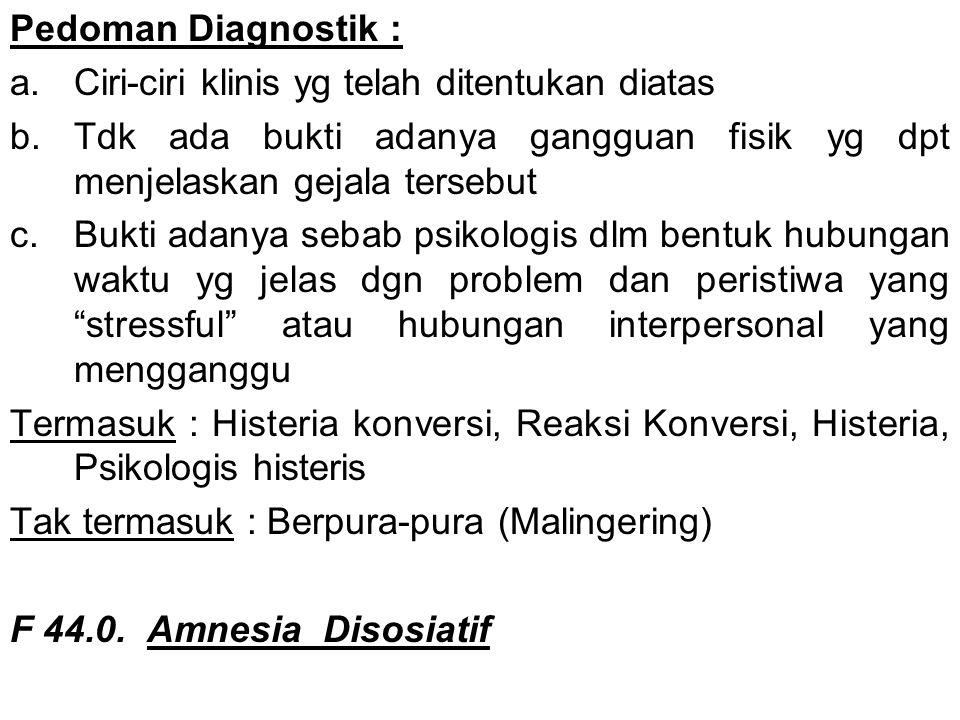 Pedoman Diagnostik : Ciri-ciri klinis yg telah ditentukan diatas. Tdk ada bukti adanya gangguan fisik yg dpt menjelaskan gejala tersebut.