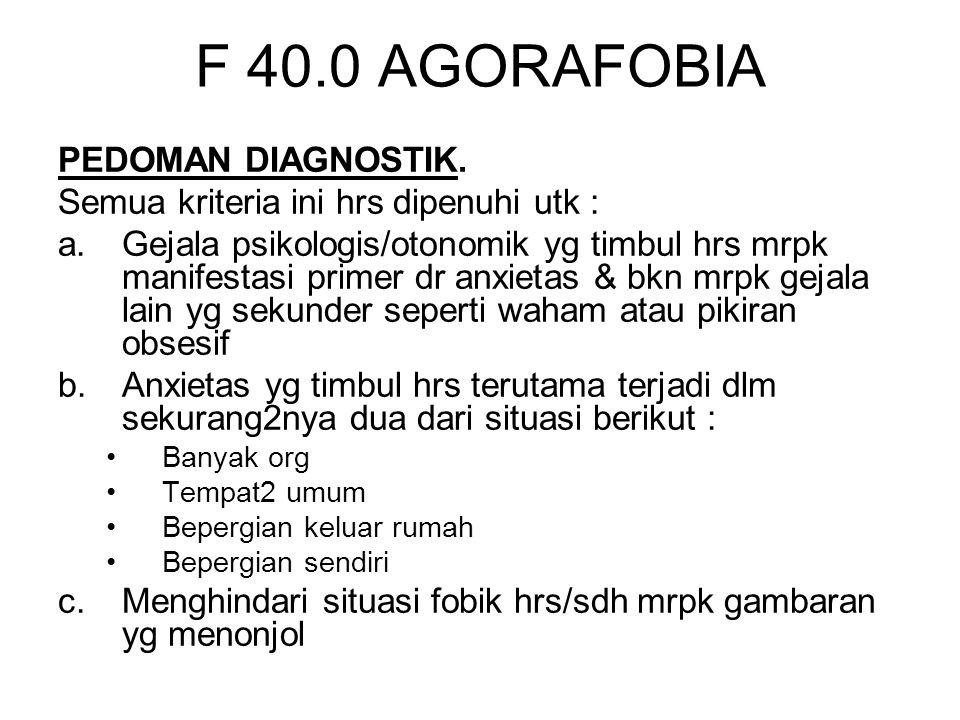 F 40.0 AGORAFOBIA PEDOMAN DIAGNOSTIK.