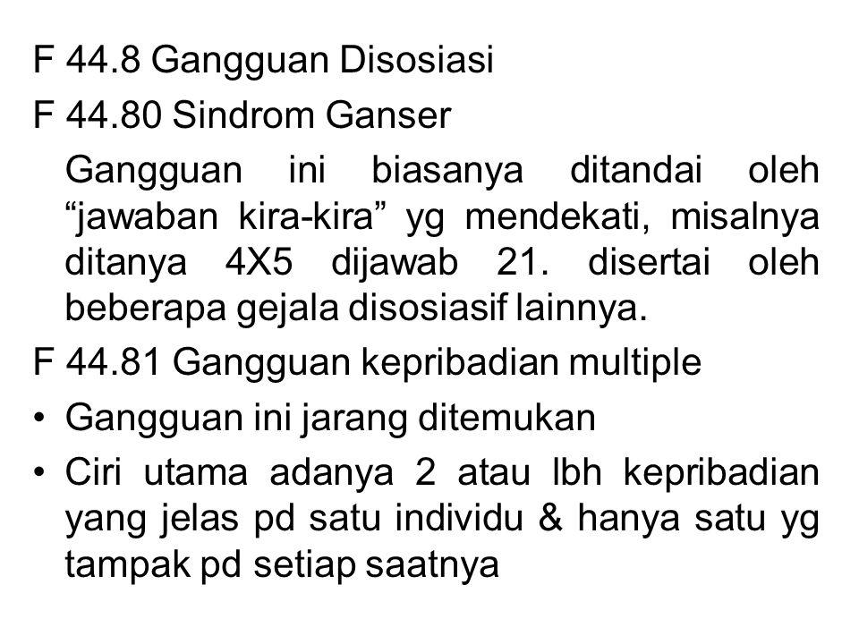 F 44.8 Gangguan Disosiasi F 44.80 Sindrom Ganser.