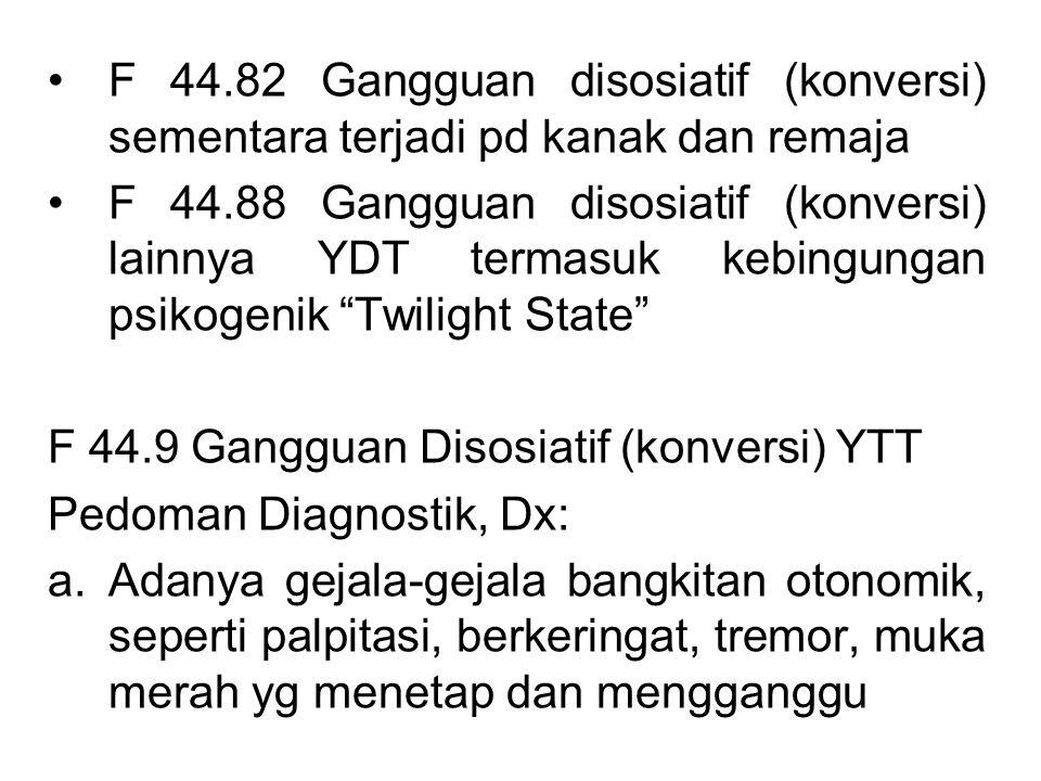 F 44.82 Gangguan disosiatif (konversi) sementara terjadi pd kanak dan remaja