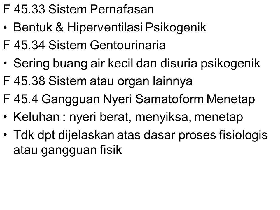 F 45.33 Sistem Pernafasan Bentuk & Hiperventilasi Psikogenik. F 45.34 Sistem Gentourinaria. Sering buang air kecil dan disuria psikogenik.