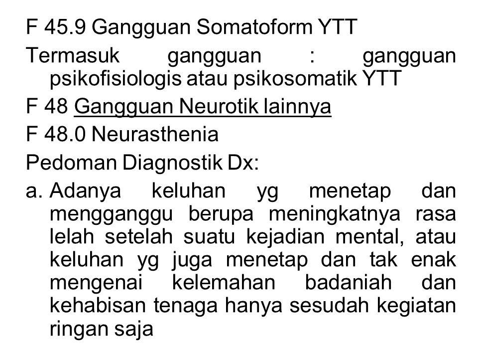 F 45.9 Gangguan Somatoform YTT