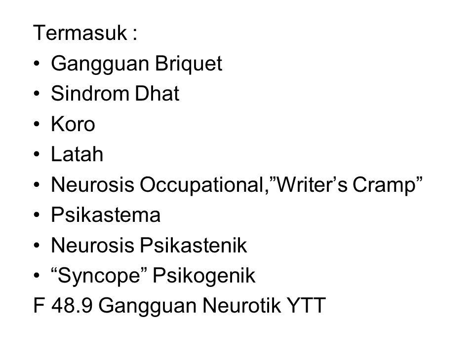 Termasuk : Gangguan Briquet. Sindrom Dhat. Koro. Latah. Neurosis Occupational, Writer's Cramp Psikastema.