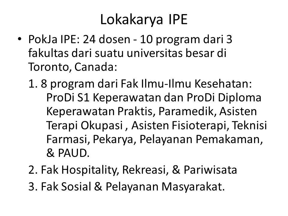 Lokakarya IPE PokJa IPE: 24 dosen - 10 program dari 3 fakultas dari suatu universitas besar di Toronto, Canada: