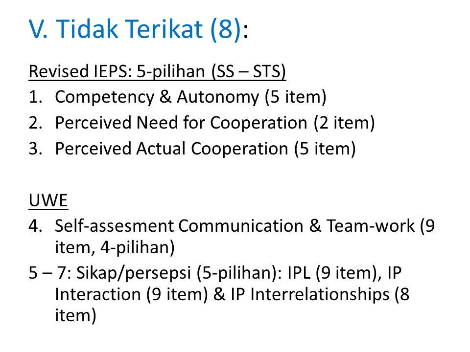 V. Tidak Terikat (8): Revised IEPS: 5-pilihan (SS – STS)