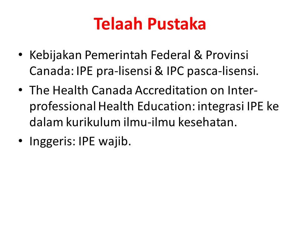 Telaah Pustaka Kebijakan Pemerintah Federal & Provinsi Canada: IPE pra-lisensi & IPC pasca-lisensi.