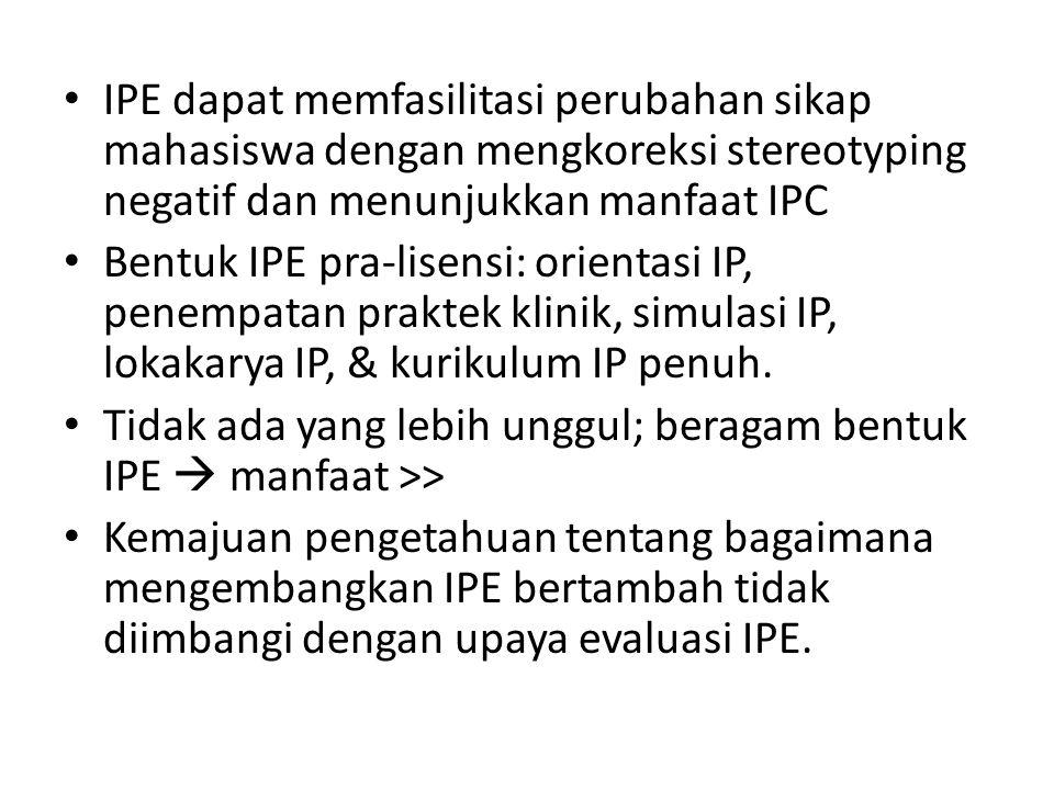 IPE dapat memfasilitasi perubahan sikap mahasiswa dengan mengkoreksi stereotyping negatif dan menunjukkan manfaat IPC