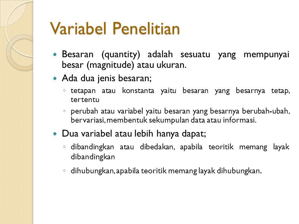 Variabel Penelitian Besaran (quantity) adalah sesuatu yang mempunyai besar (magnitude) atau ukuran.