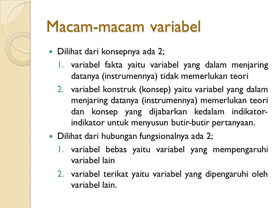 Macam-macam variabel Dilihat dari konsepnya ada 2;