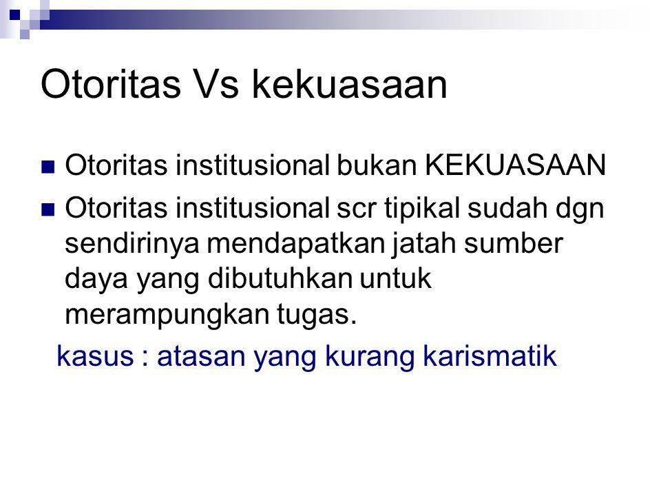 Otoritas Vs kekuasaan Otoritas institusional bukan KEKUASAAN