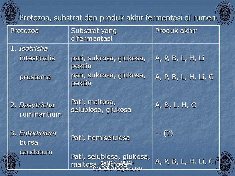 Protozoa, substrat dan produk akhir fermentasi di rumen