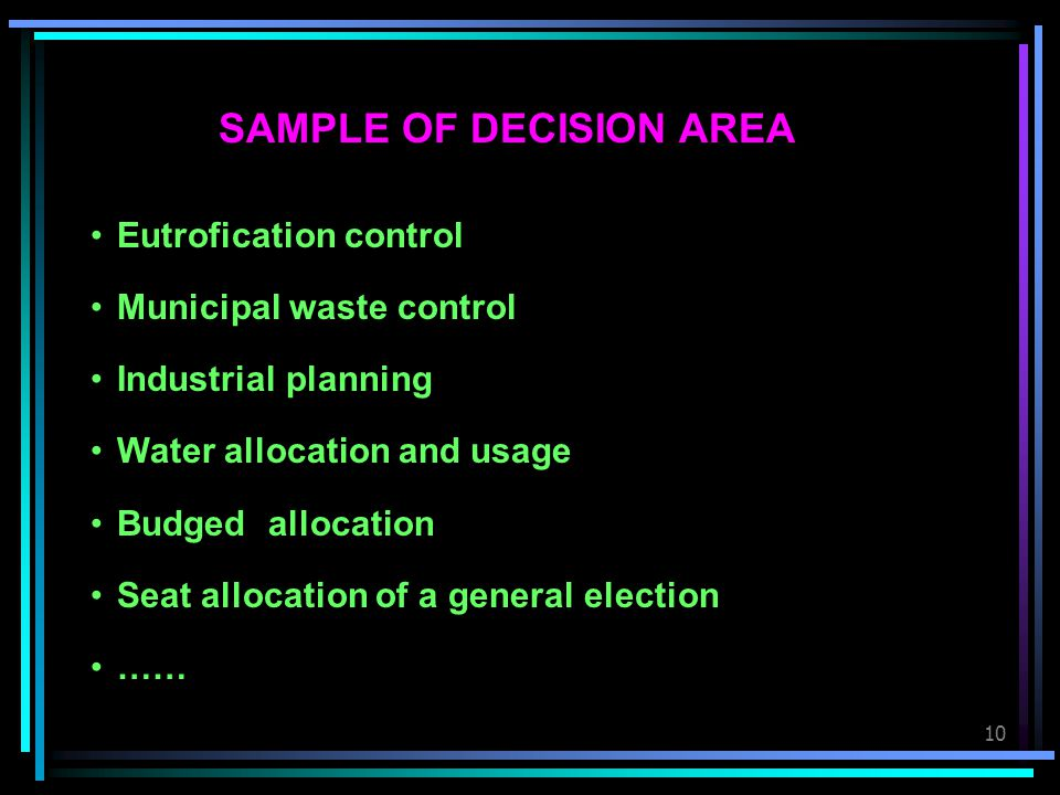 SAMPLE OF DECISION AREA