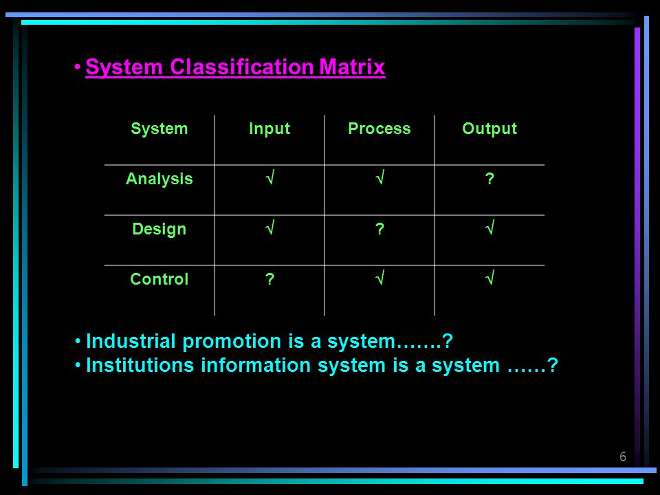 System Classification Matrix
