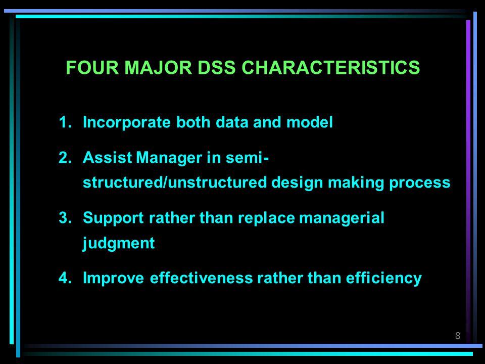FOUR MAJOR DSS CHARACTERISTICS