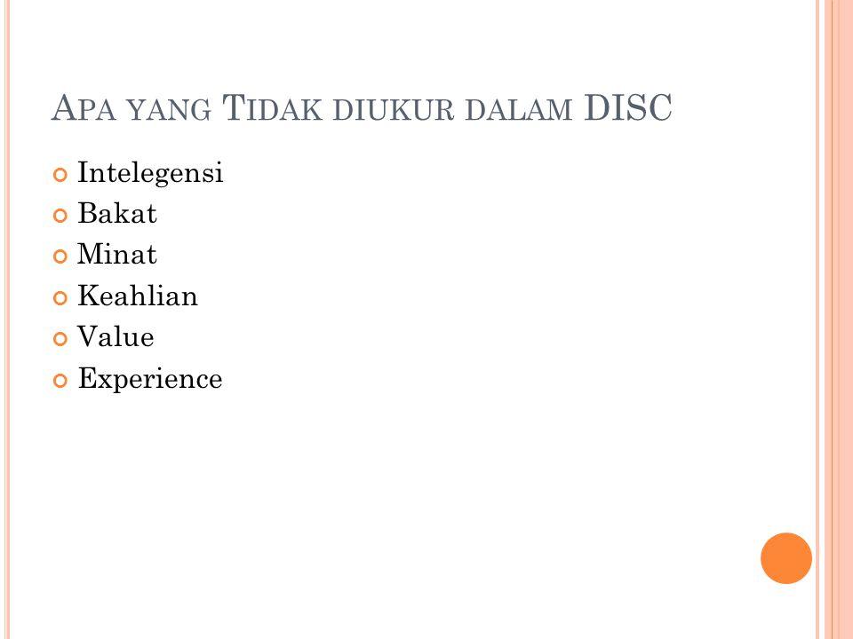 Apa yang Tidak diukur dalam DISC