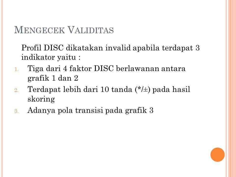 Mengecek Validitas Profil DISC dikatakan invalid apabila terdapat 3 indikator yaitu : Tiga dari 4 faktor DISC berlawanan antara grafik 1 dan 2.