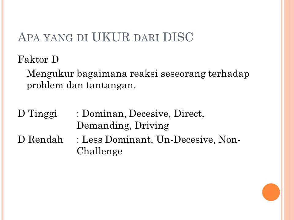 Apa yang di UKUR dari DISC