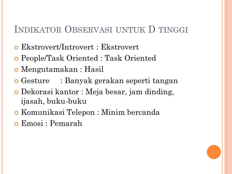Indikator Observasi untuk D tinggi