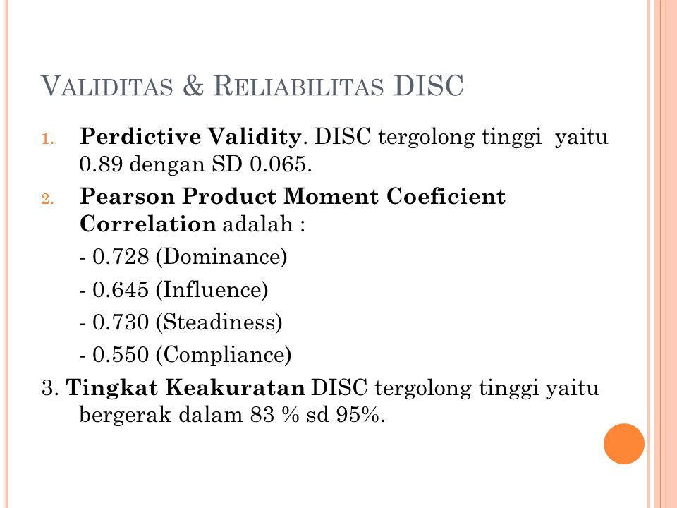 Validitas & Reliabilitas DISC
