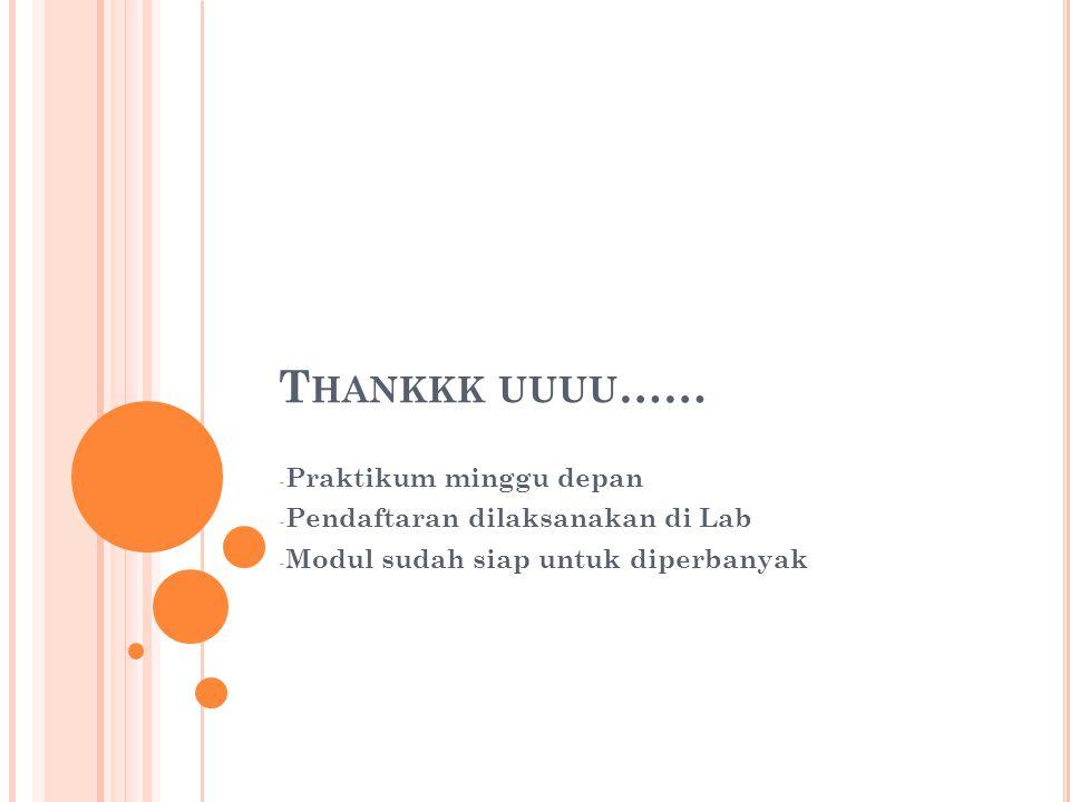 Thankkk uuuu…… Praktikum minggu depan Pendaftaran dilaksanakan di Lab