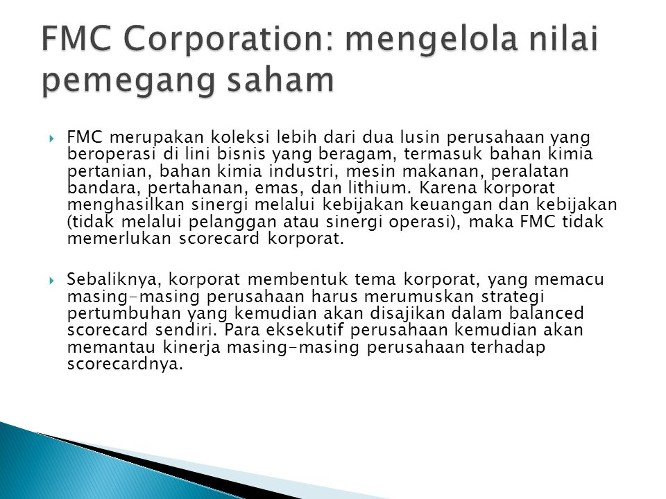 FMC Corporation: mengelola nilai pemegang saham