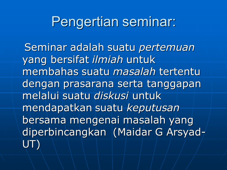 Pengertian seminar:
