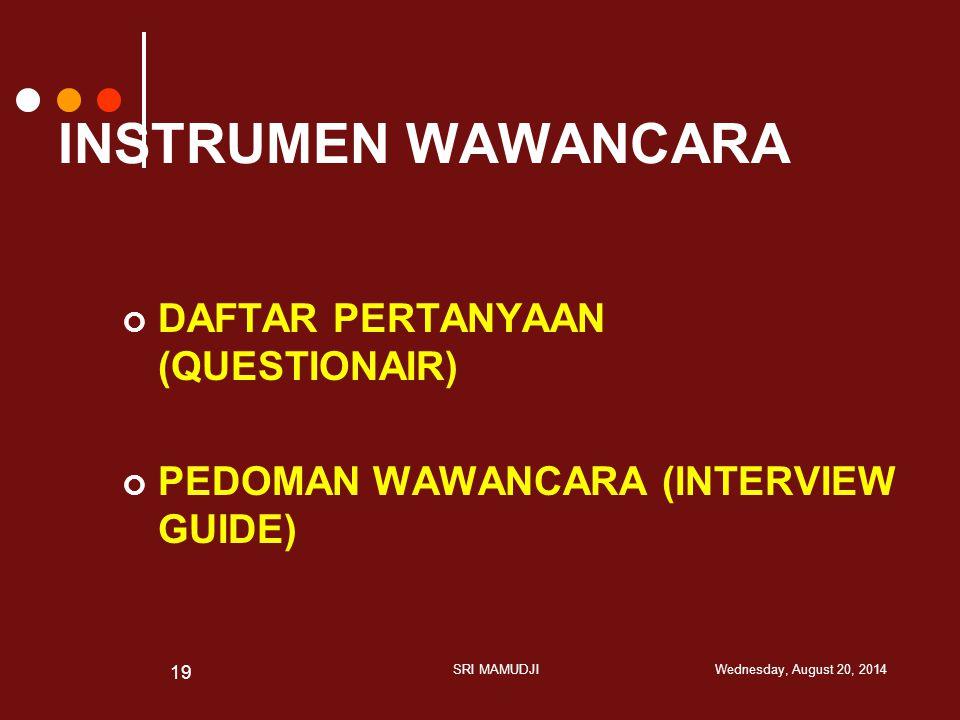 INSTRUMEN WAWANCARA DAFTAR PERTANYAAN (QUESTIONAIR)