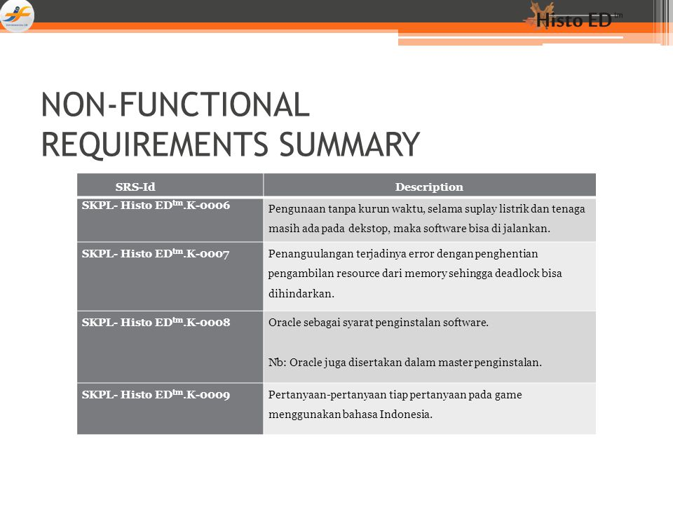 NON-FUNCTIONAL REQUIREMENTS SUMMARY