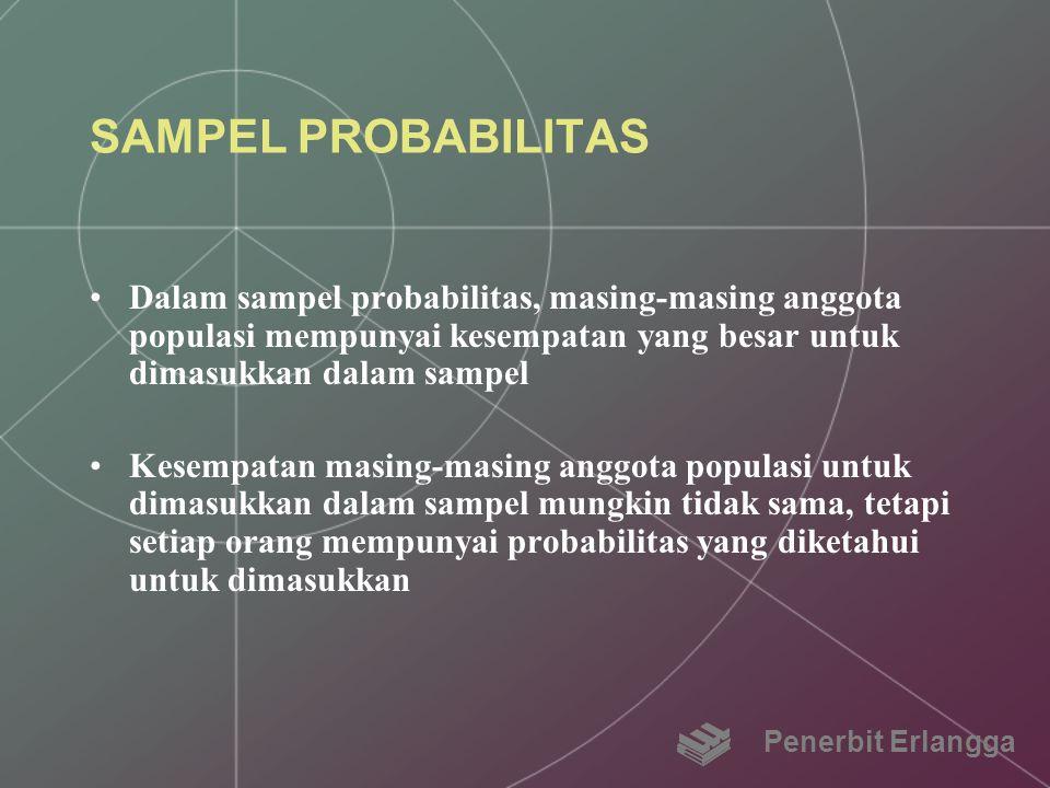 SAMPEL PROBABILITAS Dalam sampel probabilitas, masing-masing anggota populasi mempunyai kesempatan yang besar untuk dimasukkan dalam sampel.