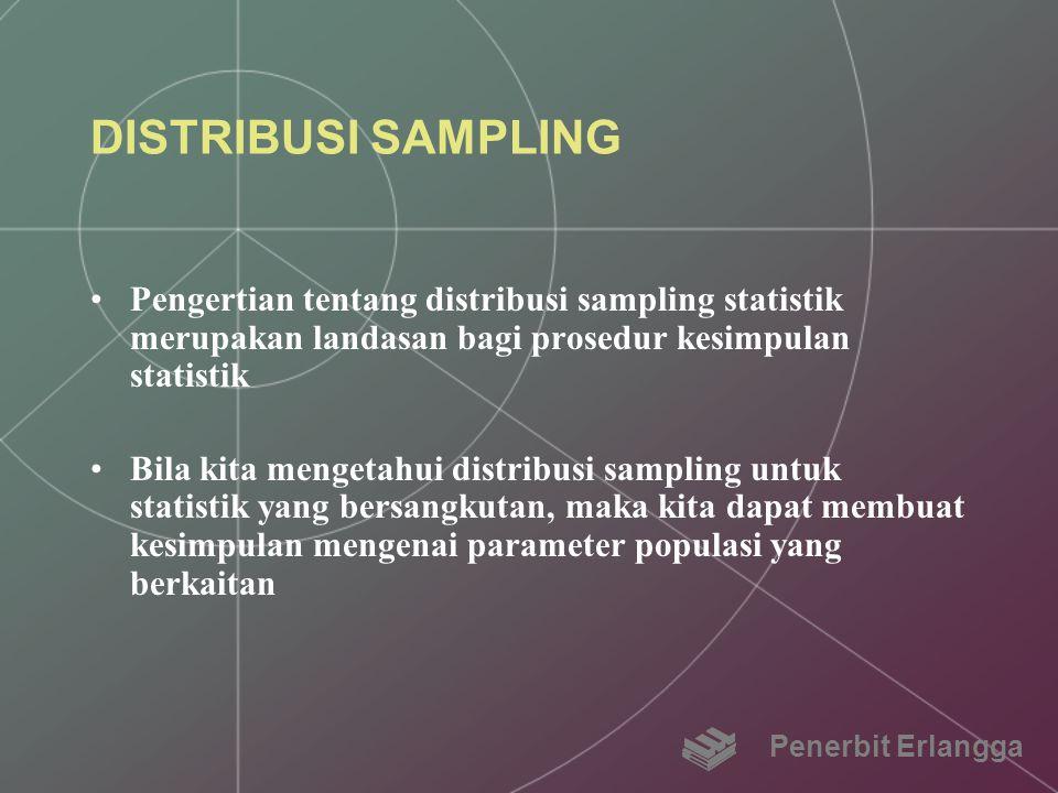 DISTRIBUSI SAMPLING Pengertian tentang distribusi sampling statistik merupakan landasan bagi prosedur kesimpulan statistik.