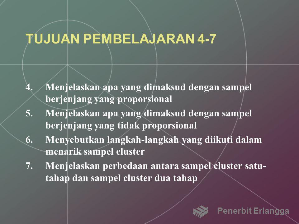TUJUAN PEMBELAJARAN 4-7 Menjelaskan apa yang dimaksud dengan sampel berjenjang yang proporsional.