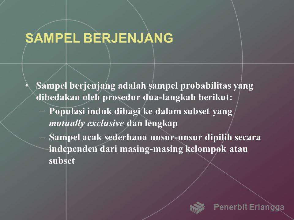SAMPEL BERJENJANG Sampel berjenjang adalah sampel probabilitas yang dibedakan oleh prosedur dua-langkah berikut: