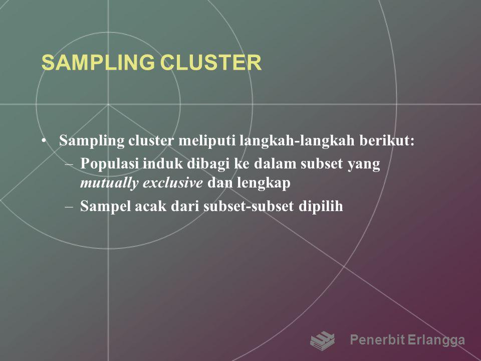 SAMPLING CLUSTER Sampling cluster meliputi langkah-langkah berikut:
