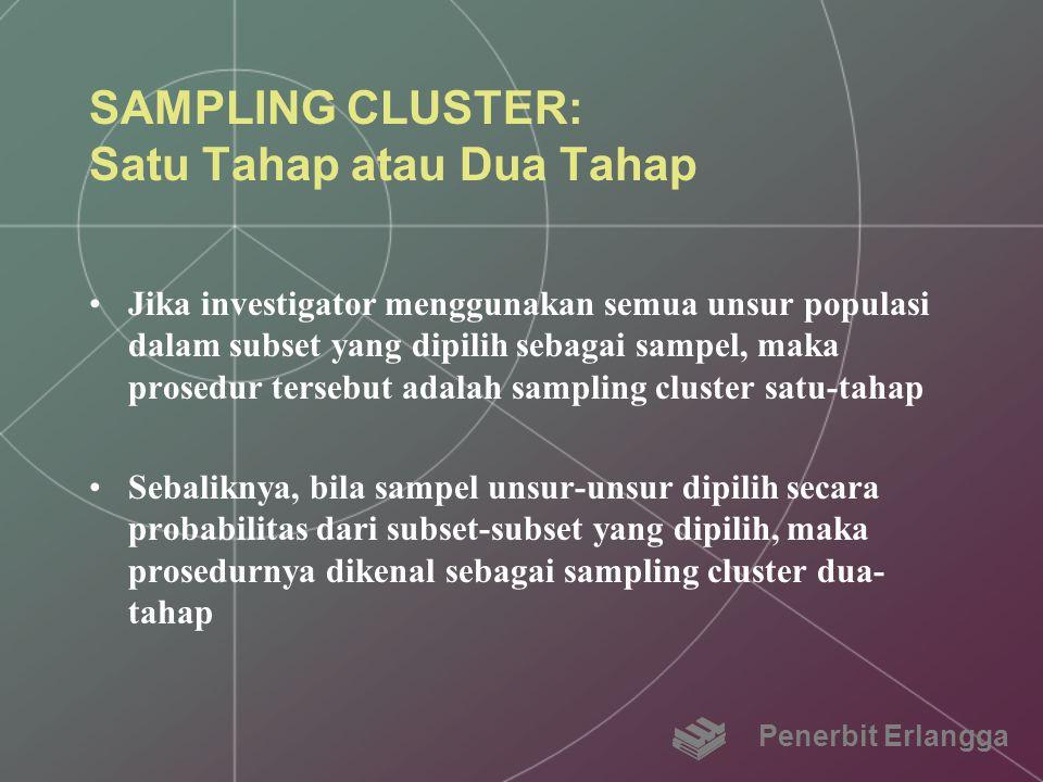 SAMPLING CLUSTER: Satu Tahap atau Dua Tahap
