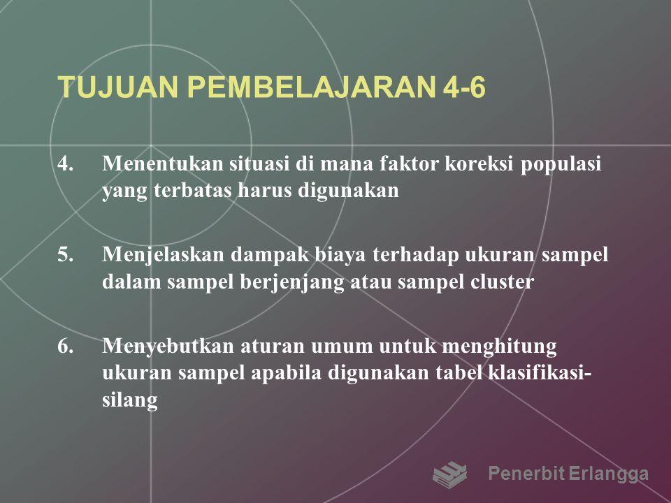 TUJUAN PEMBELAJARAN 4-6 Menentukan situasi di mana faktor koreksi populasi yang terbatas harus digunakan.